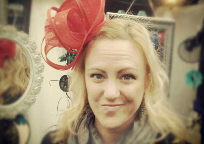Shannon Fisher wearing a fascinator