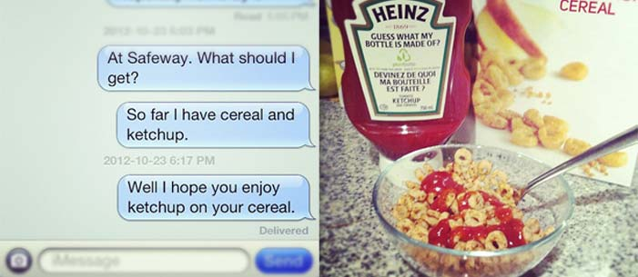 text message between Shannon and Steve Fisher and cereal with ketchup on it