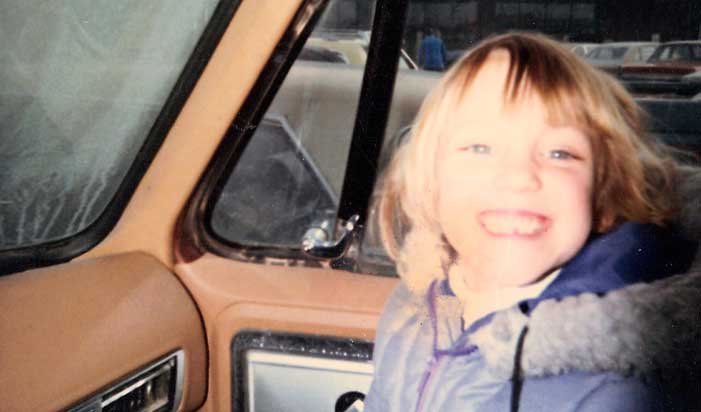 Young Shannon Fisher in her dad's truck