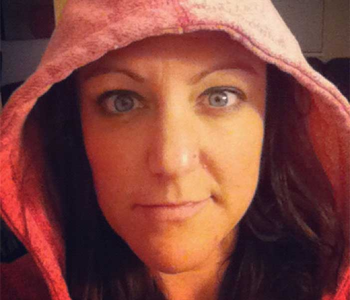 Shannon Fisher with a hoodie on