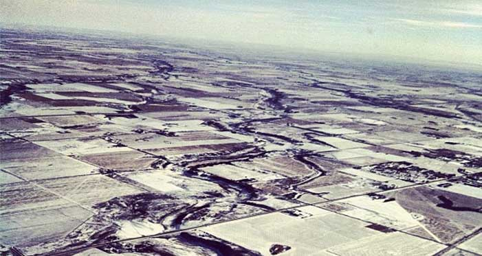 a snowy alberta from above