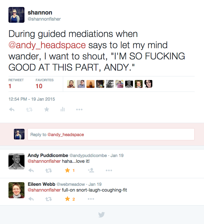 a tweet from the author to the creator of headspace