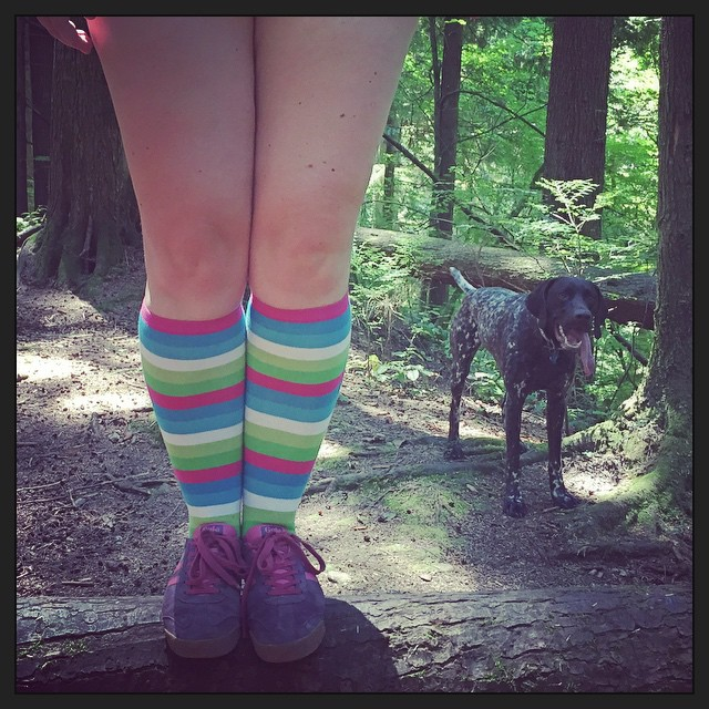 a picture from the knees down of a girl wearing rainbow striped socks